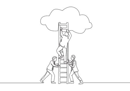 One continuous line drawing of team members support their leader to climb the ladder to reach the sky to reach the success. Business teamwork concept single line draw design vector illustration Illustration