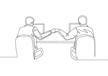 One continuous line drawing of two young happy business men bump their fist when they knew the project running smoothly. Business teamwork concept single line draw design vector illustration