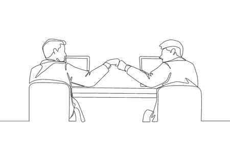 One continuous line drawing of two young happy male worker bump their fist to celebrate their success at the office. Business teamwork concept single line draw design vector illustration 向量圖像