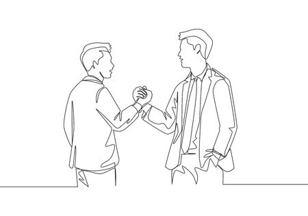 One single line drawing of two young happy business men holding their hands together to mark the commencement of a joint project. Teamwork concept continuous line draw design vector illustration
