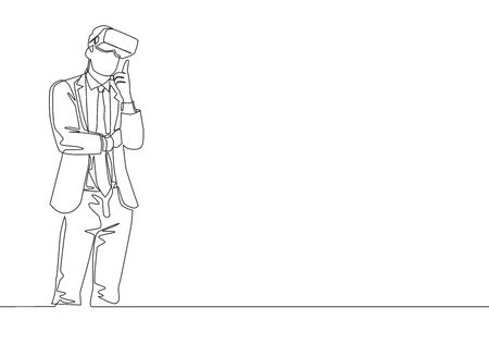 One single line drawing of young serious businessman thinking watching visual simulation on virtual reality. Smart technology futuristic game concept continuous line draw design vector illustration Illustration