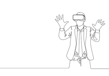 One single line drawing of young happy gamer businessman wearing virtual reality helmet and try to touch wall. Smart technology futuristic game concept continuous line draw design vector illustration Illustration