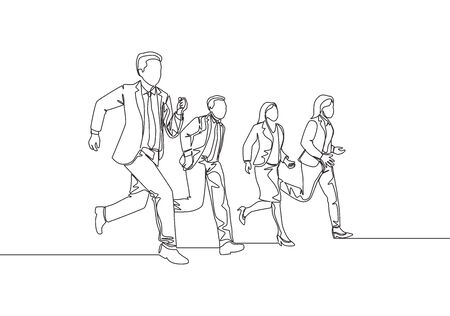 One continuous single line drawing of young male and female manager join run competition on running track to reach finish line. Business sprint race concept single line draw design vector illustration Ilustrace