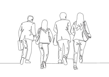 One single line drawing group of male and female workers run in rush so as not to be late to arrive to the office. Business running competition concept continuous line draw design vector illustration