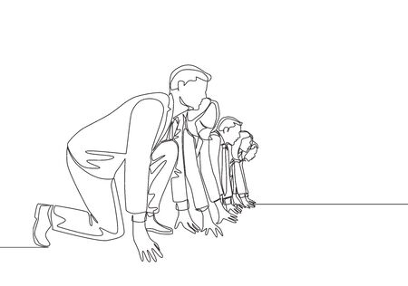 One single line drawing group of male and female worker gets ready on starting line to do sprint race together. Business running competition concept continuous line draw design vector illustration