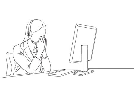 One single line drawing of young female customer service care listening pensively call from client sitting in front of computer. Call center concept continuous line draw design vector illustration