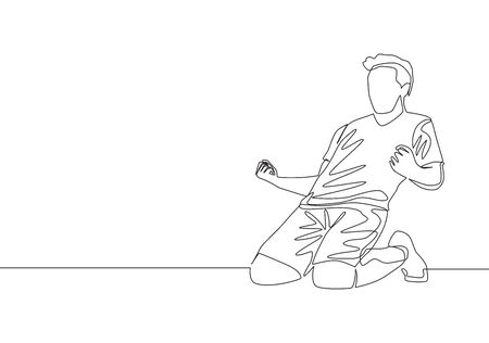One single line drawing of sporty young football player celebrating his goal scoring on the field emotionally on field. Match goal celebration concept continuous line draw design vector illustration