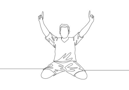 One single line drawing of young football player pointing his fingers to the sky celebrating his goal scoring at field. Match goal celebration concept continuous line draw design vector illustration
