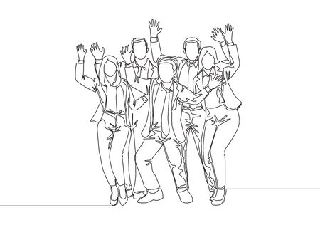 Single continuous line drawing of young happy male and female trainer prancing with joy at the seminar room together. Business teamwork celebration concept one line draw design vector illustration