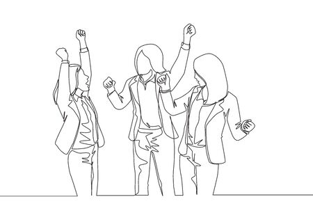 One continuous line drawing of young happy businesswomen prancing with joy at the meeting room together. Business teamwork celebration concept single line draw design vector illustration  イラスト・ベクター素材