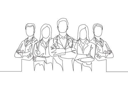 Single continuous single line drawing group of young promising doctor posing standing and cross hands on chest together at hospital. Medical teamwork concept one line draw design vector illustration Stock Illustratie