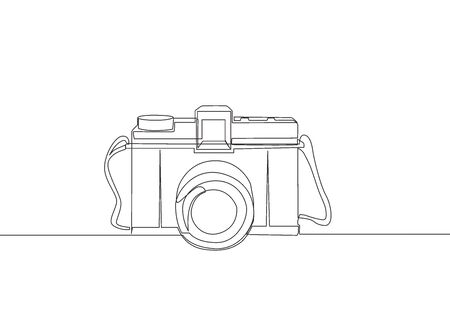 One single line drawing of old retro analog film pocket camera. Vintage classic photography equipment concept continuous line draw design vector illustration Illustration