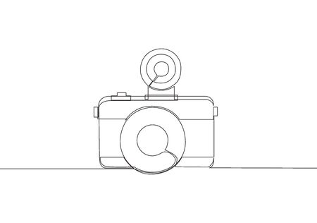 One single line drawing of old retro lomo plastic photo camera. Vintage classic lomography equipment concept. Continuous line draw design vector illustration