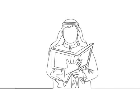 Single continuous line drawing of young muslim person reading and recite Quran in traditional Arab cloth. Islamic holy day Ramadan Kareem greeting card concept one line draw design vector illustration