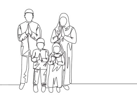 Ramadan Kareem greeting card, poster and banner design. One single line drawing of happy muslim Islamic family - father, mother, daughter and son. Eid Mubarak continuous line draw vector illustration