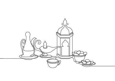 Ramadan Kareem greeting card, poster and banner design. One single line drawing of Islamic ornament lantern, glass, dates fruit, food, drink and teapot. Continuous line draw vector illustration