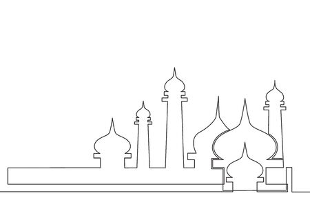Single continuous line drawing of masjid, masjid dome and masjid tower ornament. Eid Al Fitr Mubarak and Ramadan Kareem greeting card concept one line draw design vector illustration 向量圖像