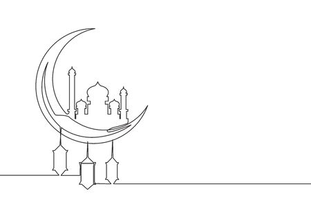 Ramadan Kareem greeting card, poster and banner design background. One continuous line drawing of islamic ornament masjid and lantern lamp hanging on moon. Single line draw vector illustration Ilustracja