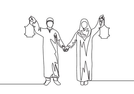 Eid Mubarak poster, banner and greeting card design Single continuous line drawing of young Islamic muslim muslimah couple holding hands and lantern lamp. Eid Al Fitr one line draw vector illustration