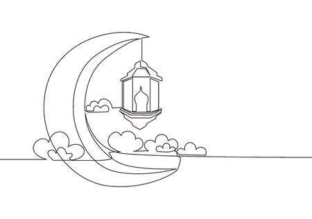 Ramadan Kareem greeting card, poster and banner design background. One continuous line drawing of Islamic ornament lantern lamp hanging on moon at cloudy sky. Single line draw vector illustration