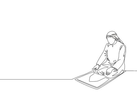 Single continuous line drawing of young muslim person pray on sajadah in traditional Arab clothing. Ramadan Kareem and Eid Mubarak greeting card concept one line draw design vector illustration Vectores