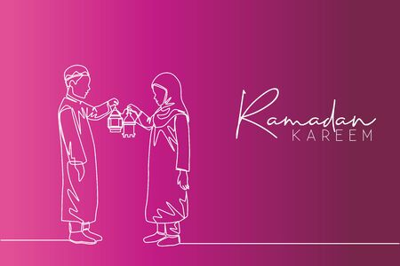 Ramadan Kareem greeting card, poster and banner design background. Single continuous line drawing of two young muslim Islamic boy and girl holding lantern lamp. one line draw vector illustration