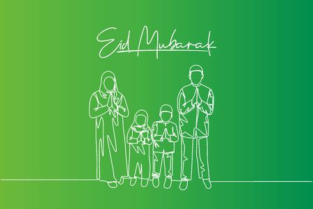 Eid Mubarak greeting card, poster and banner design background. Single continuous line drawing of muslim Arabian family - mom, dad and two kids. Eid Al Fitr one line draw vector illustration