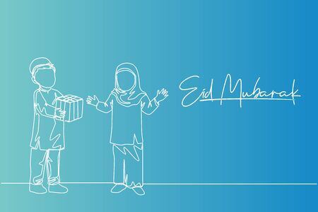 Single continuous line drawing of young muslim boy giving a present gift to sister. Eid Mubarak greeting card, banner, and poster concept. Trendy one line draw design illustration background