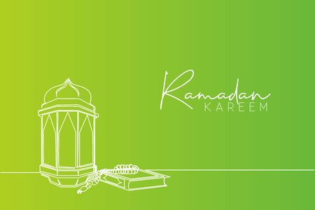 Ramadan Kareem greeting card, poster and banner design. Single continuous line drawing of Islamic ornament quran kitab, tasbih and lantern lamp. Muslim festival one line draw vector illustration
