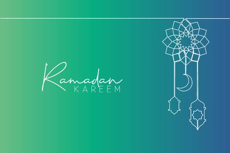 Ramadan Kareem greeting card, poster and banner design background. One single line drawing of muslim Islamic tribal with lantern lamp and moon ornament. Continuous line draw vector illustration Ilustracja