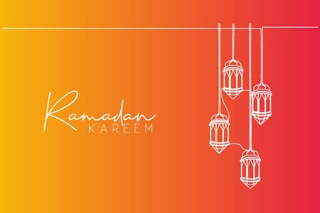 Ramadan Kareem greeting card, banner, and poster design. One single line drawing of Islamic lantern lamps ornament hanging on wire with white background. Continuous line draw vector illustration