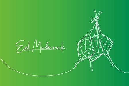 Eid Mubarak greeting card, poster and banner design. One continuous line drawing of ketupat, local rice dumpling food from Indonesia and Malaysia. Eid Al Fitr single line draw vector illustration