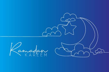 One single line drawing of islamic ornament with moon and star and cloudy sky on white background. Ramadan Kareem greeting card, banner, and poster concept. Continuous line draw vector illustration 向量圖像