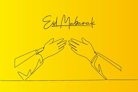 Eid Mubarak greeting card, banner and poster design background. Single continuous line drawing of two muslim people handshaking to forgive each other, Eid Al Fitr. One line draw vector illustration