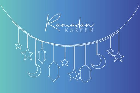 Ramadan Kareem greeting card, poster and banner design background. One single line drawing of Islamic ornament with moons, stars, lanterns and lamps. Continuous line draw vector illustration