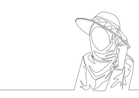 Single continuous line drawing of happy young cute muslimah wear headscarf with hat and pose nicely. Beauty Asian woman model in trendy hijab fashion concept one line draw design vector illustration