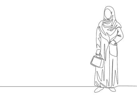 One continuous line drawing of young pretty muslimah on traditional arab cloth carrying pocker bag. Beauty Asian woman model in trendy hijab fashion concept single line draw design vector illustration