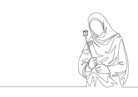 Single continuous line drawing of young happy cute muslimah with headscarf holding a flower rose. Beauty Asian woman model in trendy hijab fashion concept one line draw design vector illustration