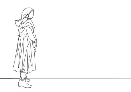 Single continuous line drawing of young beautiful muslimah with headscarf standing on city street. Beautiful Asian woman model in trendy hijab fashion concept one line draw design vector illustration