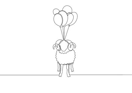 One single line drawing of sheep fly to the sky with balloons. Muslim holiday the sacrifice an animal to. God, Eid ul Adha greeting card concept continuous line draw design illustration