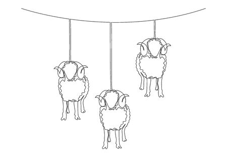 One continuous line drawing of sheeps hanging on rope like the lantern lamps. Muslim holiday the sacrifice an animal, Eid al Adha greeting card concept single line draw design illustration Ilustracja