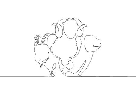 One single line drawing of camel, goat and sheep head. Muslim holiday the sacrifice an animal to God, Eid al Adha greeting card concept continuous line draw design illustration