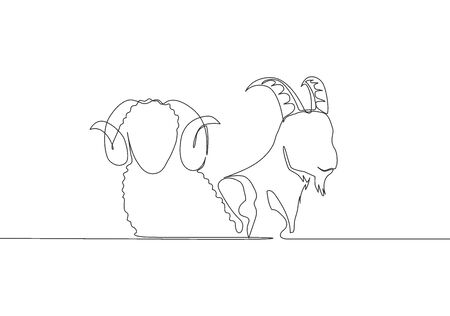 One single line drawing of goat and sheep head. Muslim holiday the sacrifice animal such as goat, camel, sheep and cow, Eid al Adha greeting card concept continuous line draw design illustration
