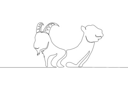 Single continuous line drawing of goat and camel head. Muslim holiday the sacrifice an animal such as goat, camel, sheep and cow, Eid al Adha greeting card concept one line draw design illustration