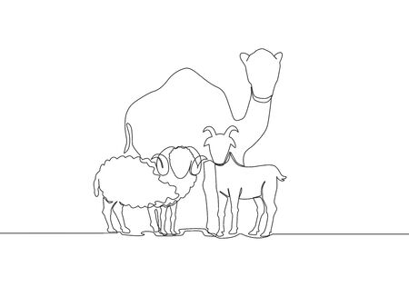 One continuous line drawing of sheep, camel and goat. Muslim holiday the sacrifice an animal to God, Eid al Adha greeting card concept single line draw design illustration