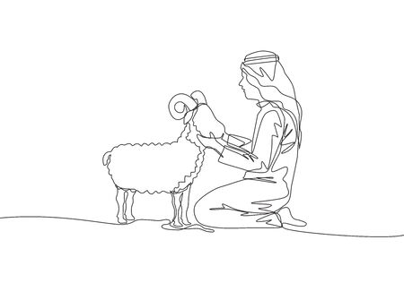 One single line drawing of young muslim holding a sheep. Islamic holiday the sacrifice a goat or sheep, Eid al Adha greeting card concept continuous line draw design illustration