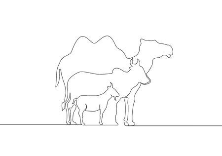 Single continuous line drawing of goat, sheep, buffalo, cow and camel. Muslim holiday the sacrifice an animal, Eid al Adha greeting card concept one line draw design illustration 向量圖像