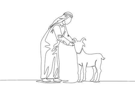One continuous line drawing of young happy muslim holding a goat. Muslim holiday the sacrifice a sheep or goat to God, Eid al Adha greeting card concept single line draw design illustration