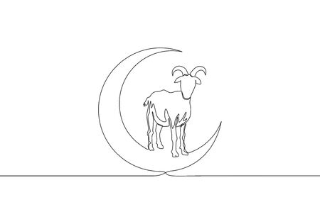 One continuous line drawing of sheep standing on moon. Muslim holiday the sacrifice a sheep, Eid al Adha greeting card concept single line draw design illustration