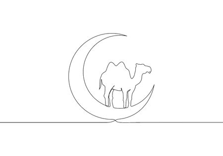 One continuous line drawing of camel animal standing on moon . Muslim holiday the sacrifice a camel, Eid al Adha greeting card concept single line draw design illustration